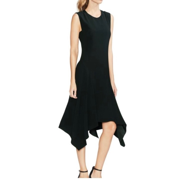 Vince Camuto Printed Handkerchief-Hem Dress Black, Size 8